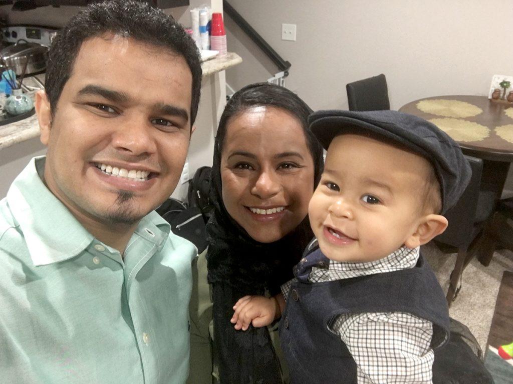 Dr. Hassan Mashbari with wife Noha and son Elias